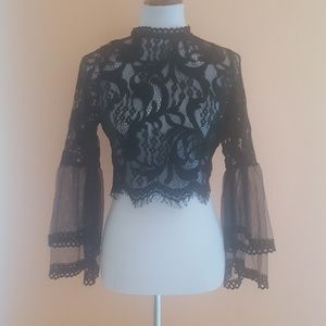 Tops - NWOT Black Lace Bell Sleeve Blouse